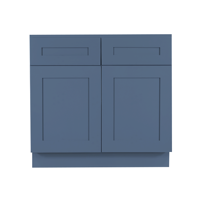 Lancaster Blue Base Cabinet 2 Drawers 2 Doors 1 Adjustable Shelf