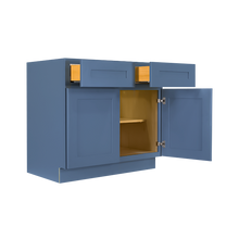 Load image into Gallery viewer, Lancaster Blue Base Cabinet 2 Drawers 2 Doors 1 Adjustable Shelf