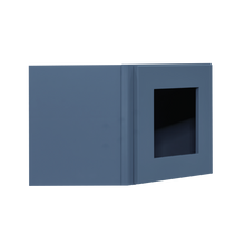 Load image into Gallery viewer, Lancaster Blue Wall Diagonal Mullion Door Cabinet 1 Door No Shelf Glass Not Included