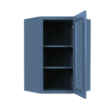 Load image into Gallery viewer, Lancaster Blue Wall Diagonal Mullion Door Cabinet 1 Door 2 Adjustable Shelves Glass not Included