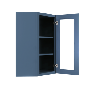 Lancaster Blue Wall Diagonal Mullion Door Cabinet 1 Door 2 Adjustable Shelves Glass not Included