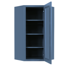 Load image into Gallery viewer, Lancaster Blue Wall Diagonal Mullion Door Cabinet 1 Door 3 Adjustable Shelves Glass not Included