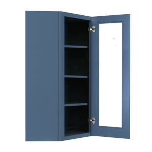 Lancaster Blue Wall Diagonal Mullion Door Cabinet 1 Door 3 Adjustable Shelves Glass not Included