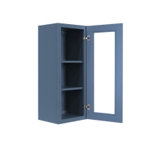 Load image into Gallery viewer, Lancaster Blue Wall Mullion Door Cabinet 1 Door 2 Adjustable Shelves Glass not Included