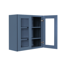 Load image into Gallery viewer, Lancaster Blue Wall Mullion Door Cabinet 2 Door 2 Adjustable Shelves Glass not Included