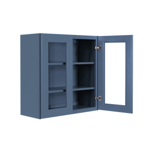 Lancaster Blue Wall Mullion Door Cabinet 2 Doors 2 Adjustable Shelves Glass not Included