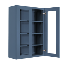 Load image into Gallery viewer, Lancaster Blue Wall Mullion Door Cabinet 2 Doors 3 Adjustable Shelves Glass not Included