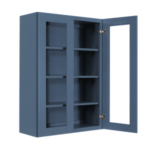Lancaster Blue Wall Mullion Door Cabinet 2 Doors 3 Adjustable Shelves Glass not Included