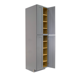 Lancaster Gray Tall Pantry 2 Upper Doors and 2 Lower Doors