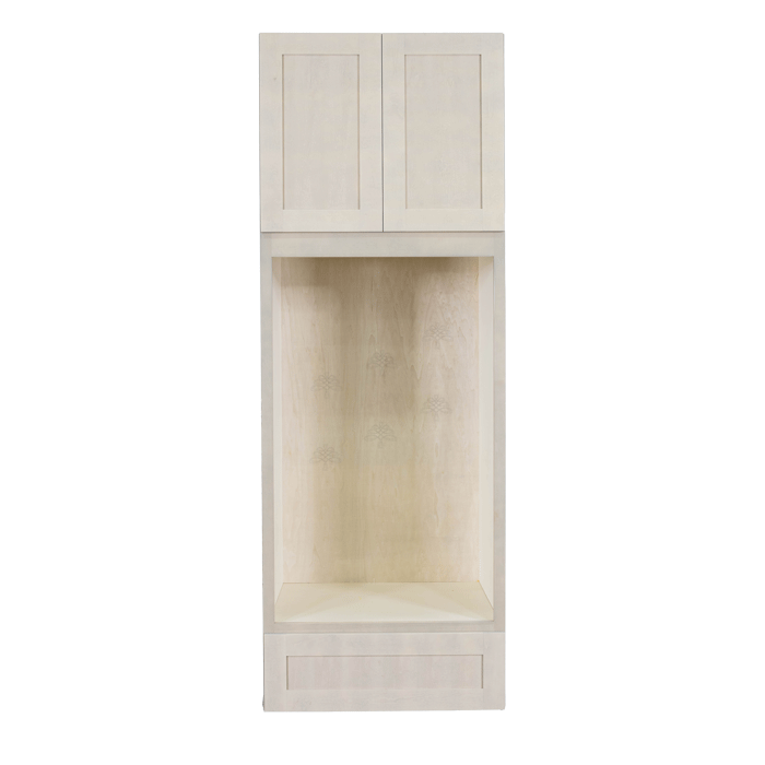 Lancaster Stone Wash Tall Double Oven Cabinet 2 Upper Doors and 1 Lower Drawer