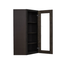 Load image into Gallery viewer, Lancaster Vintage Charcoal Wall Diagonal Mullion Door Cabinet 1 Door 3 Adjustable Shelves Glass not Included