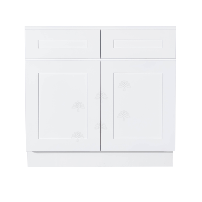Lancaster Shaker White Sink Base Cabinet 2 Dummy Drawers 2 Doors
