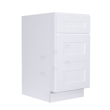 Load image into Gallery viewer, Lancaster Shaker White Vanity Drawer Base Cabinet 3 Drawers