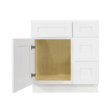 Load image into Gallery viewer, Lancaster Shaker White Vanity Sink Base Cabinet 1 Dummy Drawer 1 Door Rightside
