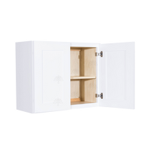 Load image into Gallery viewer, Lancaster Shaker White Wall Cabinet 2 Doors 1 Adjustable Shelf 24inch Depth