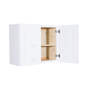 Lancaster Shaker White Wall Cabinet 2 Doors 1 Adjustable Shelf 24inch Depth