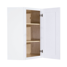 Load image into Gallery viewer, Lancaster Shaker White Wall Diagonal Corner 1 Door 2 Adjustable Shelves