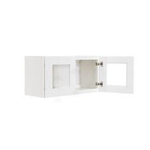 Load image into Gallery viewer, Lancaster Shaker White Wall Mullion Door Cabinet 2 Doors No Shelves Glass not inclued