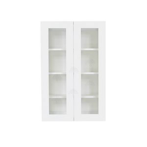Lancaster Shaker White Wall Mullion Door Cabinet 2 Doors 3 Adjustable Shelves Glass not Included