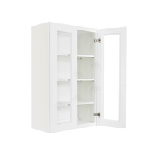 Load image into Gallery viewer, Lancaster Shaker White Wall Mullion Door Cabinet 2 Doors 3 Adjustable Shelves Glass not Included