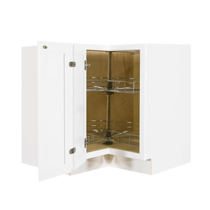 Newport White Lazy Susan Base Cabinet 2 Full Height Folding Doors