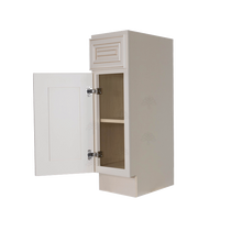 Load image into Gallery viewer, Princeton Creamy White Glazed Base End Angle Cabinet 1 Fake Drawer 1 Door 1 Adjustable Shelf (Left)