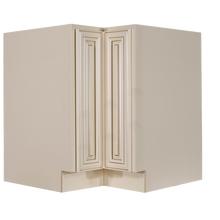 Load image into Gallery viewer, Princeton Creamy White Glazed Lazy Susan Base Cabinet 2 Full Height Folding Doors
