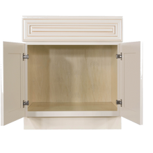 Load image into Gallery viewer, Princeton Creamy White Glazed Vanity Sink Base Cabinet 1 Dummy Drawer 2 Doors