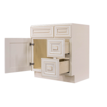 Load image into Gallery viewer, Princeton Creamy White Glazed Vanity Sink Base Cabinet 1 Dummy Drawer 1 Door (Right)