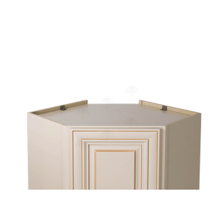 Princeton Creamy White Glazed Wall Diagonal Corner 1 Door 2 Adjustable Shelves