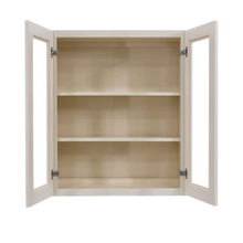 Load image into Gallery viewer, Princeton Creamy White Glazed Wall Mullion Door Cabinet 2 Door 2 Adjustable Shelves Glass not Included