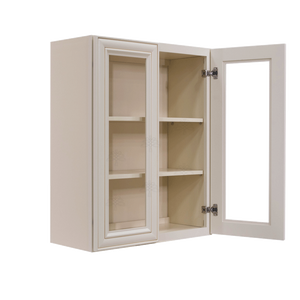 Princeton Creamy White Glazed Wall Mullion Door Cabinet 2 Door 2 Adjustable Shelves Glass not Included
