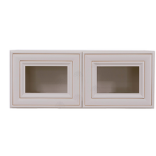 Load image into Gallery viewer, Princeton Creamy White Glazed Wall Mullion Door Cabinet 2 Doors No Shelf Glass Not Included
