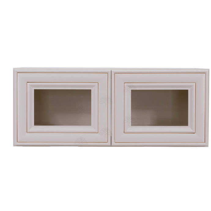 Princeton Creamy White Glazed Wall Mullion Door Cabinet 2 Doors No Shelf Glass Not Included