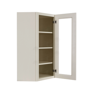 Princeton Off-white Wall Diagonal Mullion Door Cabinet 1 Door 3 Adjustable Shelves Glass not Included