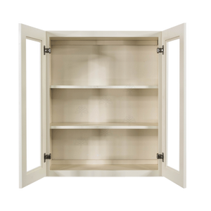 Princeton Off-white Wall Mullion Door Cabinet 2 Doors 2 Adjustable Shelves Glass not Included