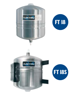 FT-18 FLOW-THRU 4.5 Gallon Stainless Steel Water Well Pressure Storage Tank