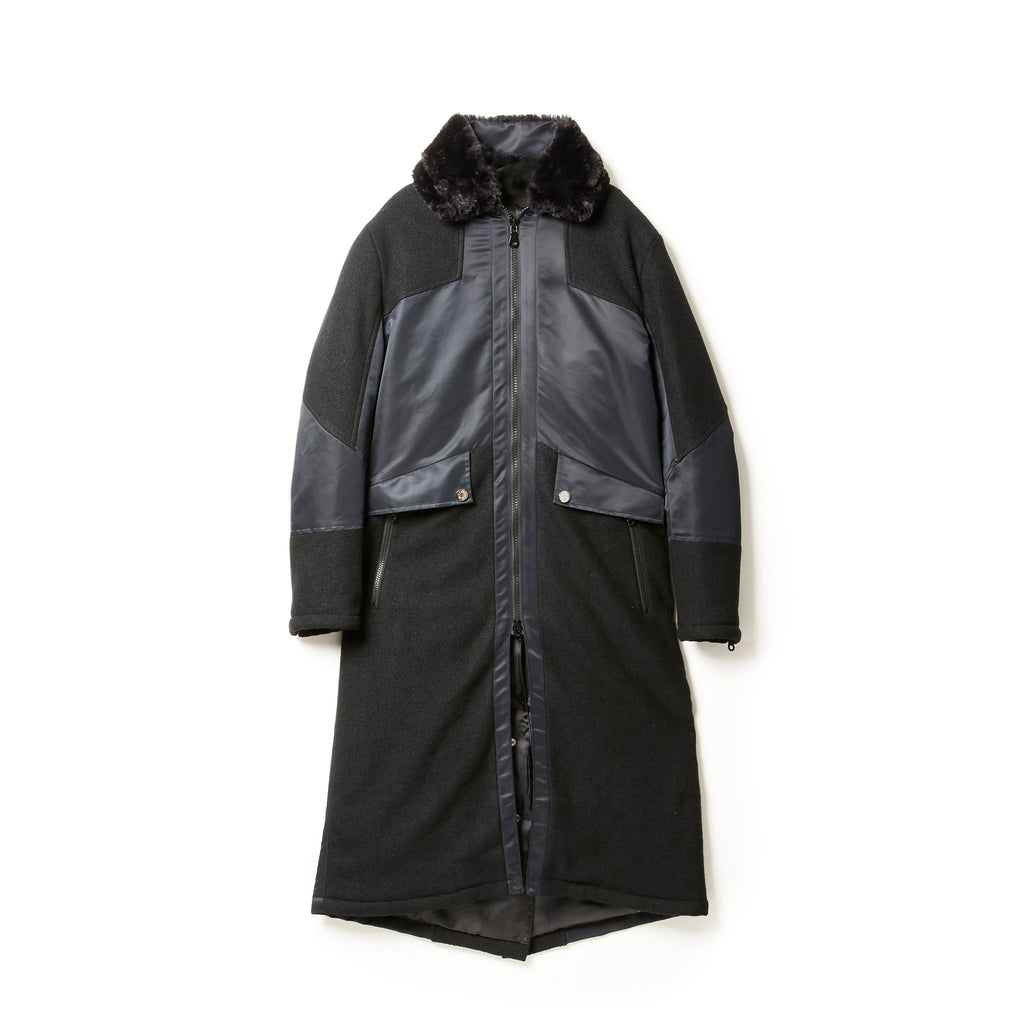 Boa Collar Padding Long Coat