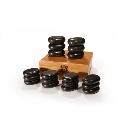 Master Massage Mini Body Massage Hot Stone Set with Bamboo Box (Basalt Rock - 18 pcs)