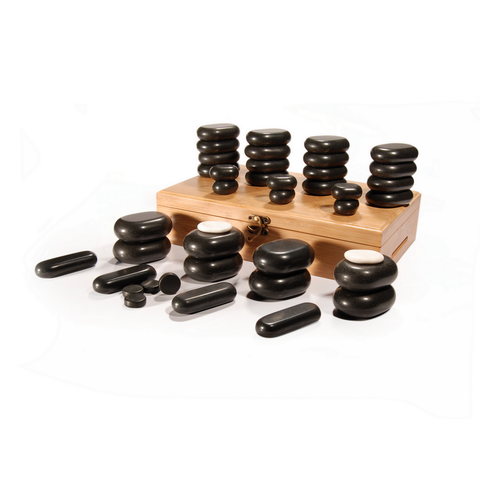Master Massage Hot Stone Set for Body Massage with Bamboo Box (Basalt Rock & Marble - 40 pcs)