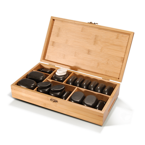 Master Massage Hot Stone Set - Deluxe Package in a Bamboo Box (Basalt rock & Marble - 50 pieces)