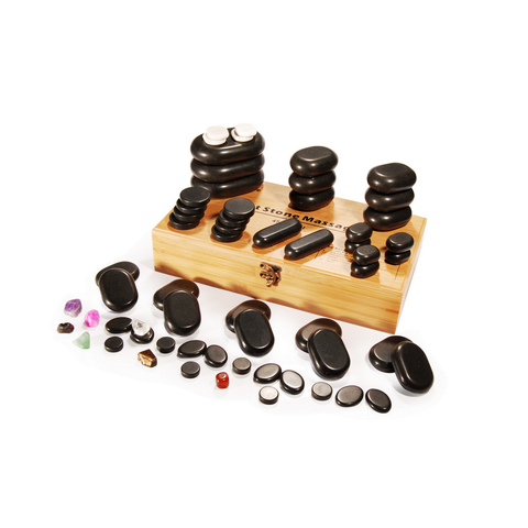 Master Massage Hot Stone Massage Deluxe Pack Set with 7 Chakra (Basalt rock & Marble - 60 pcs)