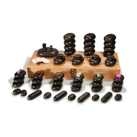 Master Massage Deluxe Hot Stone Set with Bamboo Box (Basalt Rock & Marble - 70 pcs)
