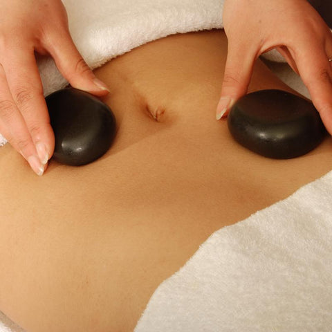 Master Massage Large Flat Ovular Hot Stone Set for Hot Stone Massage (Basalt Rock - 8 pcs) (31140)