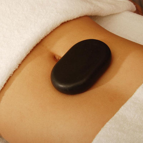Master Massage Extra X Large Flat Ovular Hot Stone Set for Hot Stone Massage (Basalt Rock - 4 pcs)