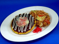 Okonomiyaki (Pancake) & Yakisoba (Fried Noodles) Dish Replica - Fake Food Japan
