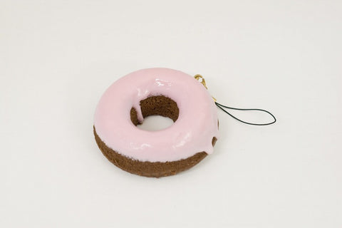 Strawberry Frosted Chocolate Doughnut Cell Phone Charm/Zipper Pull