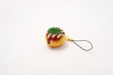 Takoyaki (Fried Octopus Ball) with Mayonnaise (small) Cell Phone Charm/Zipper Pull