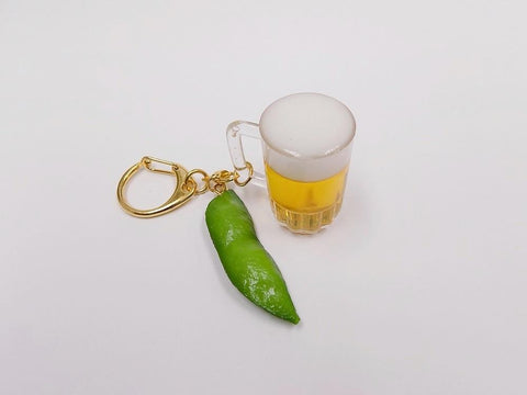 Beer (mini) & Green Soybean Keychain
