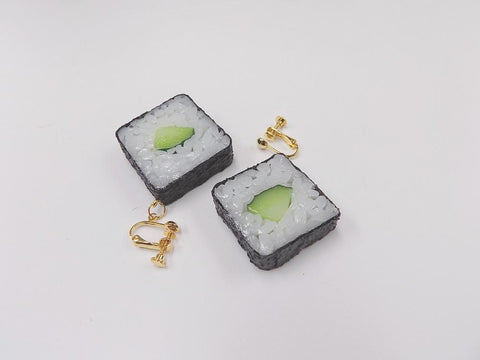 Cucumber Roll Sushi Clip-On Earrings